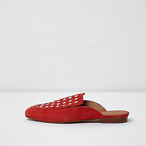 Red suede studded backless loafers