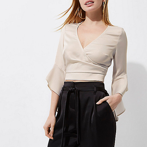 Petite cream wrap frill sleeve crop top