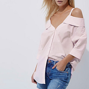 Petite pink stripe cold shoulder shirt