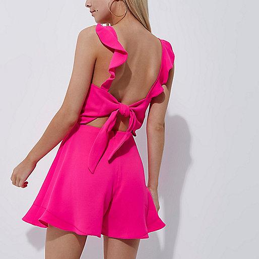 Petite bright pink frill detail romper