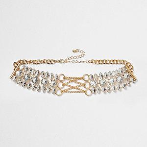 Ras-de-cou doré effet diamants style corset