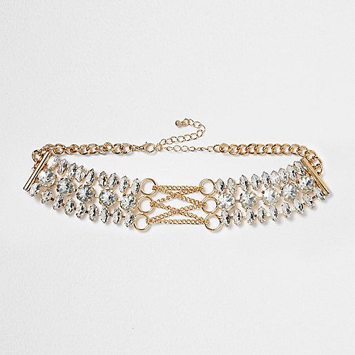 Gold tone diamante corset choker