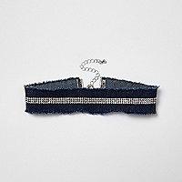 Ras-de-cou en jean bleu pavé de strass
