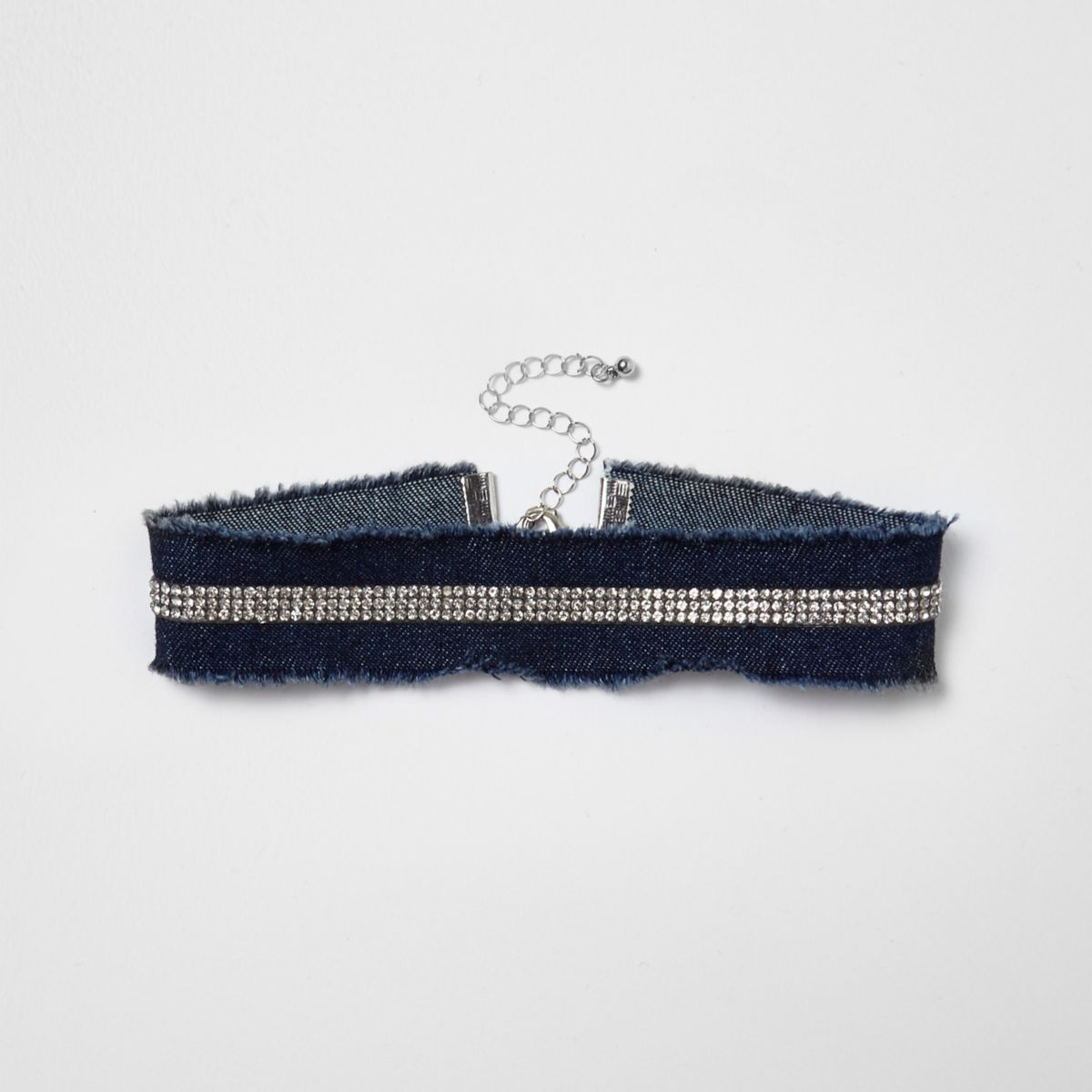 Blue denim diamante pave choker