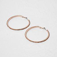 Rose gold tone cupchain hoop earrings