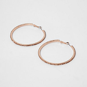 Rose gold tone cupchain hoop earrings