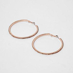Créoles or rose façon chaîne