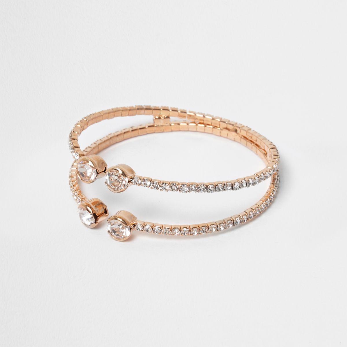 Rose gold tone rhinestone pave cuff bracelet