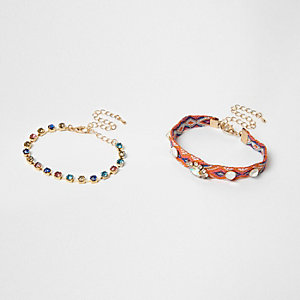 Orange aztec rhinestone bracelet pack