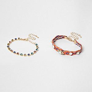 Lot de bracelets ornés de strass dont un orange à motifs aztèques