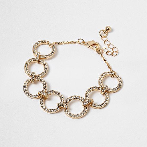 Gold tone rhinestone circle bracelet