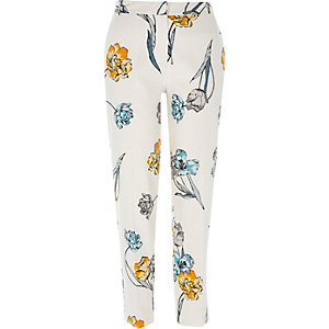Cream floral print cigarette trousers