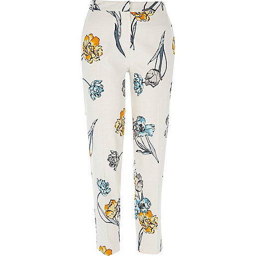 Cream floral print cigarette trousers