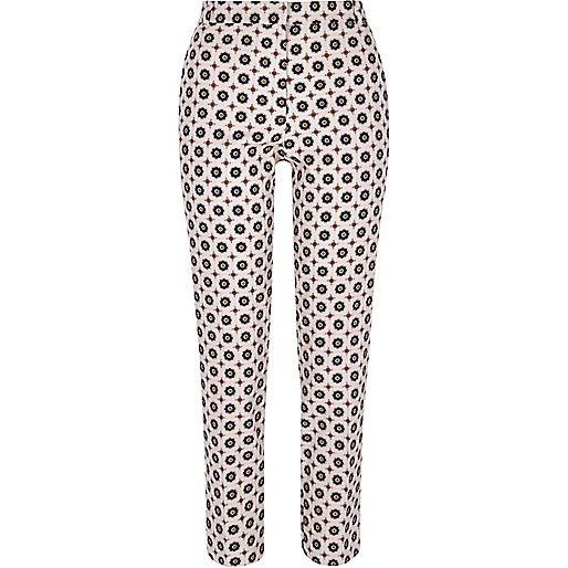 Pink geo cigarette trousers