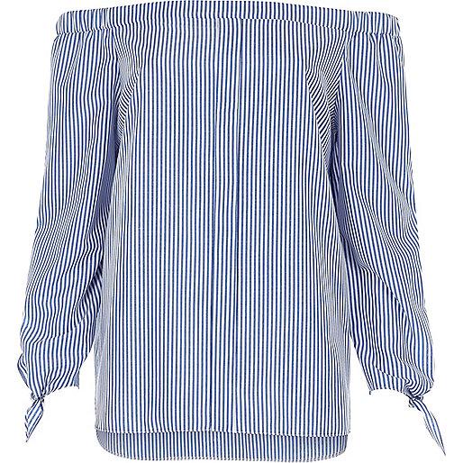 Blue stripe tie sleeve bardot shirt