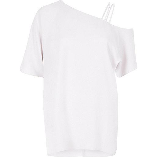 Light grey asymmetric one shoulder top