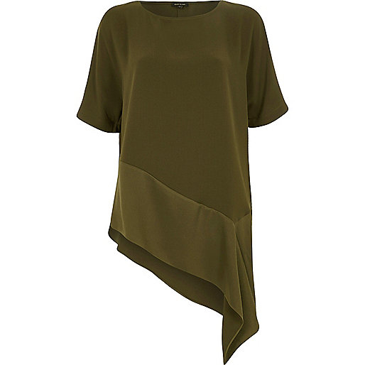 Khaki green asymmetric hem T-shirt