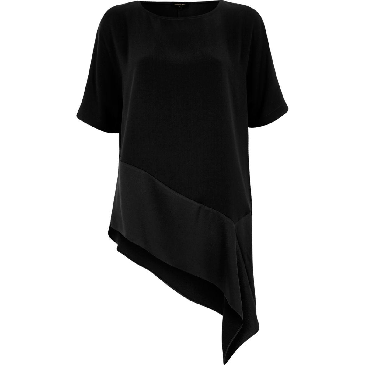 Black asymmetric hem T-shirt