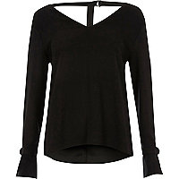 Black D-ring long sleeve top