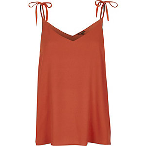Dark orange bow shoulder cami top