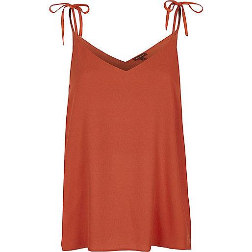 Dark orange bow shoulder cami top