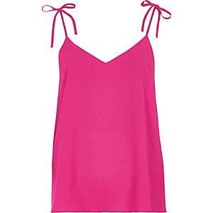Caraco rose avec nœud aux épaules