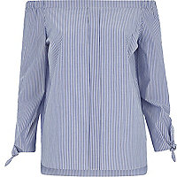 Blue stripe tie sleeve bardot shirt