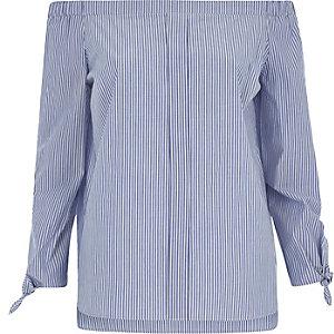 Chemise Bardot bleue rayée à manches nouées