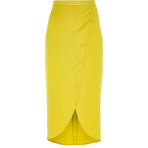 Yellow wrap midi skirt