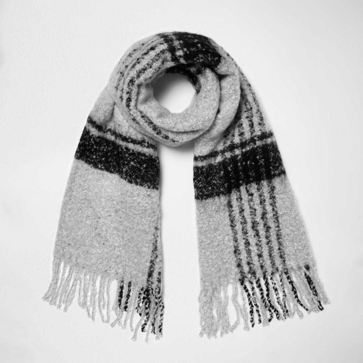 Grey check scarf