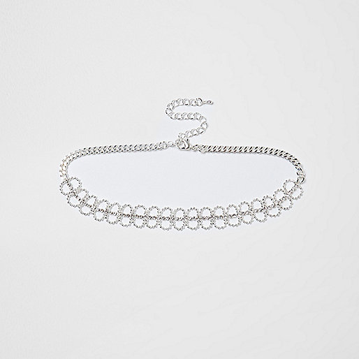 Silver tone ball chain pave choker