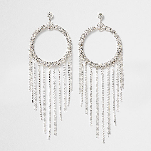 Silver tone circle tassel drop earrings