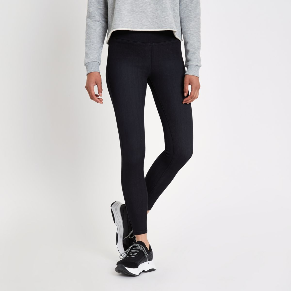 Black High Waisted Denim Leggings by River Island