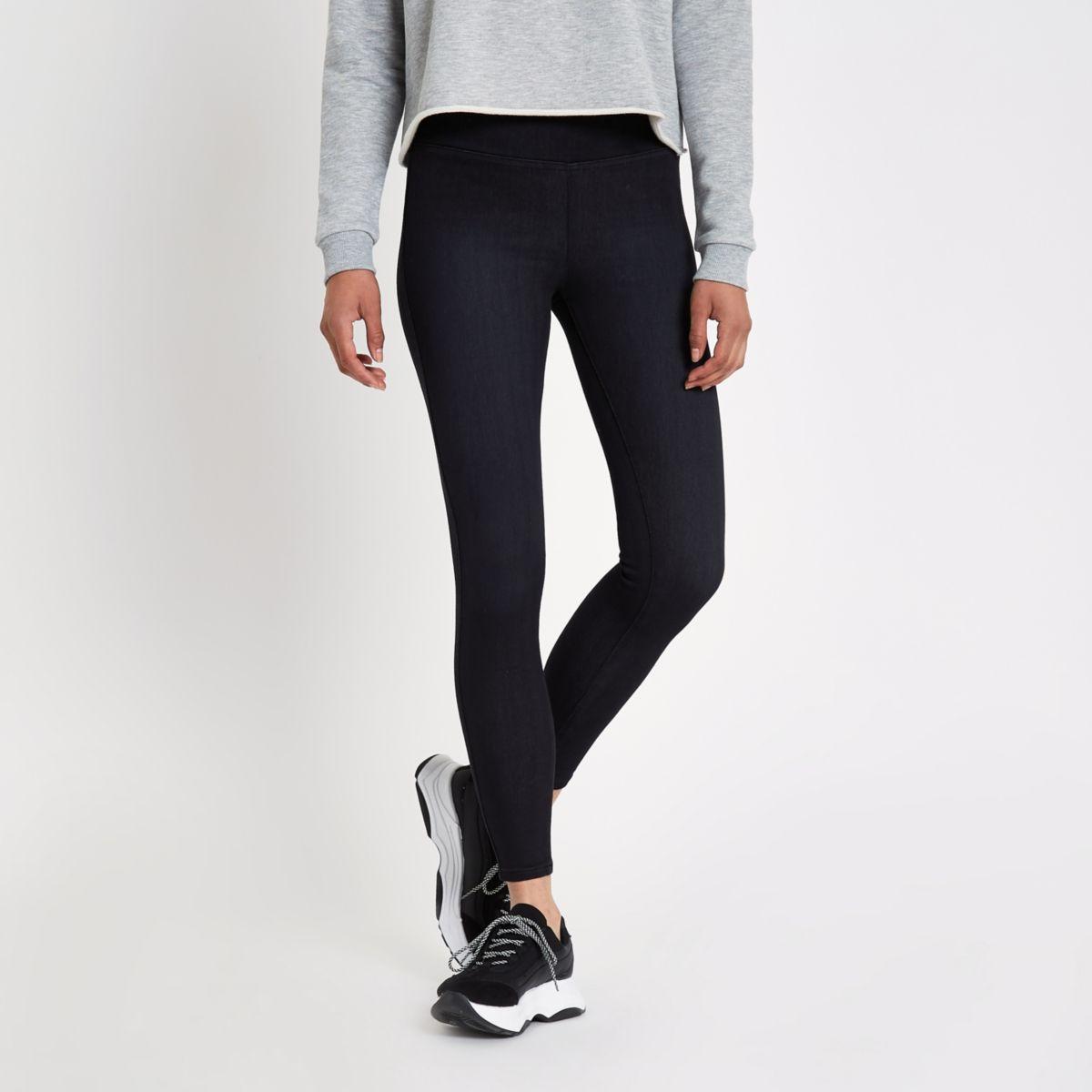 Zwarte denim legging met hoge taille