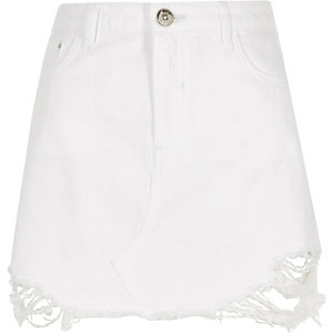 White ripped denim mini skirt