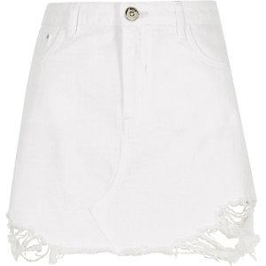 Mini-jupe en jean blanche déchirée