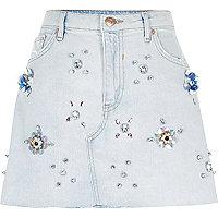 Light blue embellished denim mini skirt