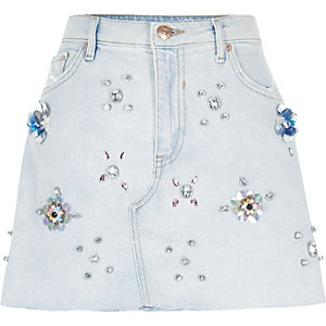 Light blue embellished denim mini skirt