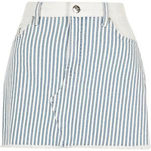 Blauer, gestreifter Mini-Jeansrock
