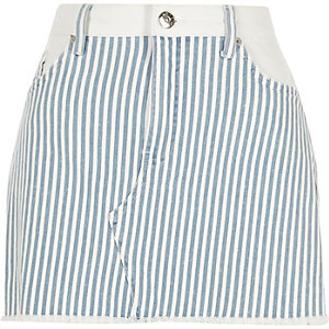 Blue stripe mini denim skirt
