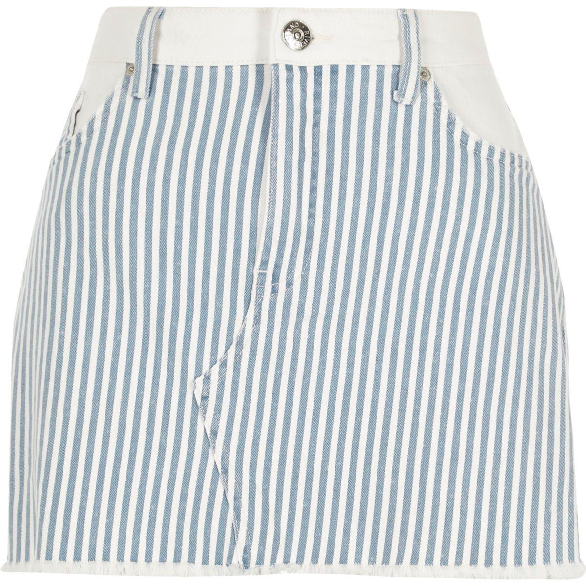 Blue stripe mini denim skirt