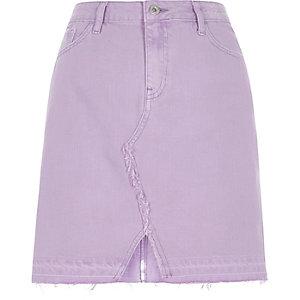 Mini-jupe en jean violet clair à ourlet défait