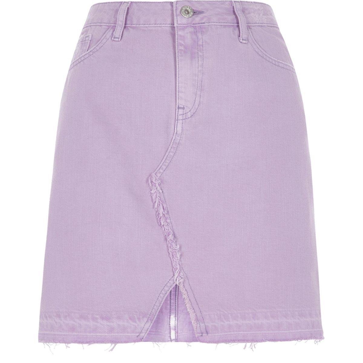 Light purple released hem denim mini skirt