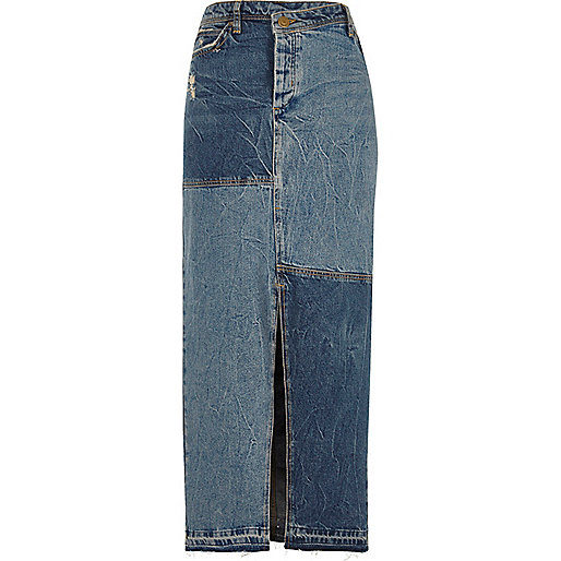Mid blue patchwork maxi denim skirt