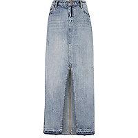 Blue front split hem maxi denim skirt