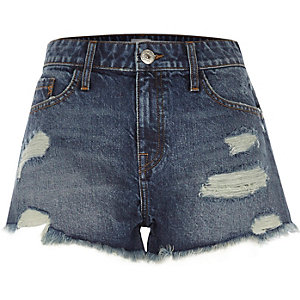 Mid blue ripped denim shorts