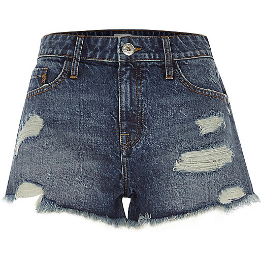 Mid blue ripped denim shorts