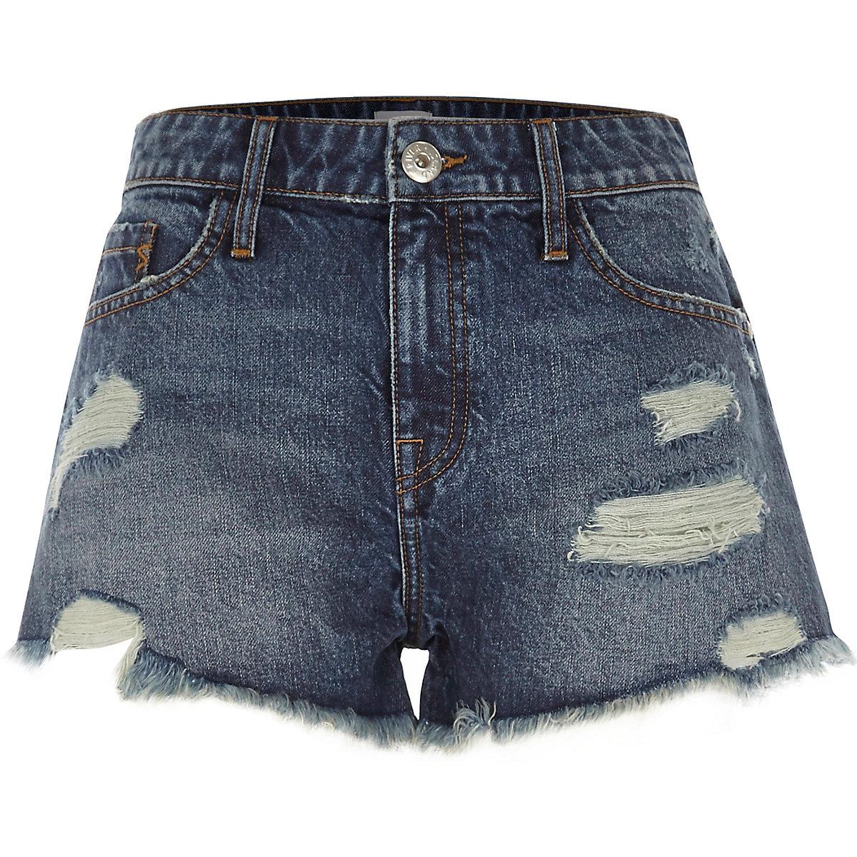 a9bbf6ac82883 Femme Bleu Déchiré Short Moyen Jean En Shorts Promos 7qHwB0