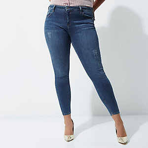 RI Plus - Donkerblauwe distressed superskinny jeans