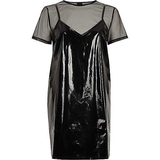 Black vinyl and mesh T-shirt dress